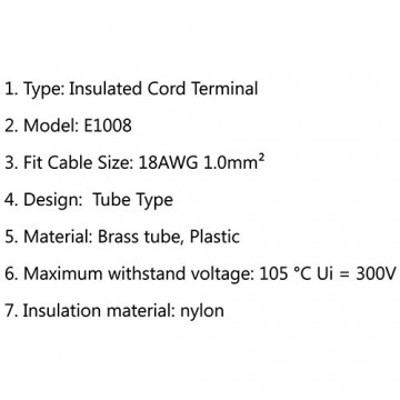 وایرشو (سر سیم لوله ای) سایز 1 Insulated Cord Terminal E1008