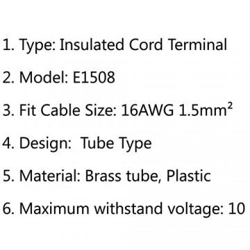 وایرشو (سر سیم لوله ای) سایز 1.5 Insulated Cord Terminal E1508