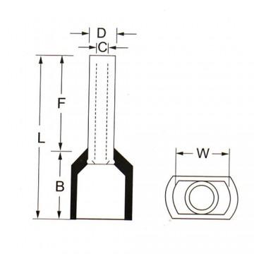 وایرشو (سر سیم لوله ای) دوبل سایز 1.5 Insulated Cord Terminal TE1508